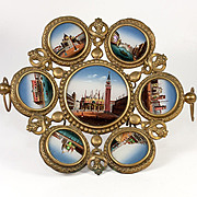SOLD RARE Fabulous Antique French Eglomise Grand Tour Souvenir Tray, 7 Views of Venice, Painti