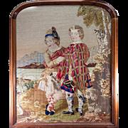 SALE HUGE Antique Victorian Era Needlepoint Tapestry in fine Walnut Frame, Scottish Kilts, 2 .