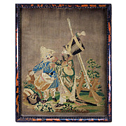 SALE Antique Petitpoint Needlepoint Tapestry Sampler, Boys Playing Soldier, Drum and Rifle, in