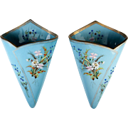 SALE Antique Bohemian Harrach Opaline Vase PAIR, 2 Hanging Wall Pocket Vase, mid-1800, Hand ..
