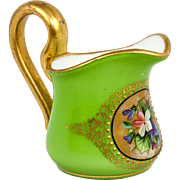 SALE Antique French Opaline Cased And Hand Painted Cream Pitcher, Splendid Art Glass, c.1830-6