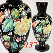 "SALE Antique Bohemian Black Amethyst or Opaline Vase, 13"" Tall, Enamel on Black Glass, Ha"
