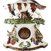 SALE Fun Antique French Clock, Porcelain Case with Hunt Theme, Spaniel Dogs