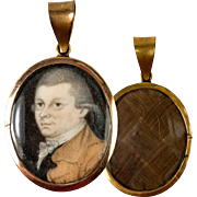 SALE Fine Antique c.1782 Portrait Miniature Pendant, 12k Gold Locket, Hair Back