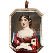 SALE Stunning 1700s Miniature Portrait, Jewelry Painting in 10k Gold Locket Pendant