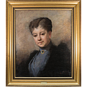 SALE Antique French Impressionist Portrait, Oil on Canvas in Frame, Signed c.1891