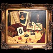 SALE Vintage Oil Painting on Canvas, Still Life Desk & Papers by Romek ARPAD (1883-1960 ...