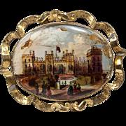 SALE Large Victorian Eglomise Sourvenir Grand Tour Brooch, Buckingham Palace, c.1840