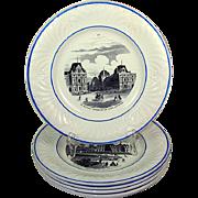 SALE Five Spectacular Antique Plates, GRAND TOUR Scenes of Paris, 1800s Creil