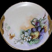 "SALE Vintage Hand Painted 10 1/4"" Cake Platter, HP Fruit & Foliage"