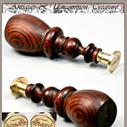 "SOLD BIG Antique Wax Seal, ""Frank"", French Walnut Handle"