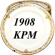 SALE Set of 11 1908 Marked KPM Raised Gold Dinner Plates - Each marked, each excellent ...