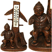 "SALE Antique Black Forest Gnome 8"" Thermometer Stand, a Gnome"