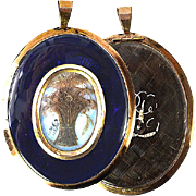 "SALE Antique Georgian Mourning Locket, 3"" 12K Gold Frame."