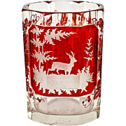 SALE Excellent Antique Bohemian Hunt Theme Ruby Glass Tumbler, Stag