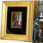 SOLD Superb Antique Limoges Enamel Plaque, Hand Painted King Francis I & Marguerite de Navarre