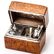 SOLD Antique Late 1700s French Burled Caddy, Etui, Necessaire - Sterling Silver Spools, Perfum