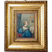 SALE Antique Georgian Era Portrait Miniature in Frame, Woman at a Loom or Embroidery Frame