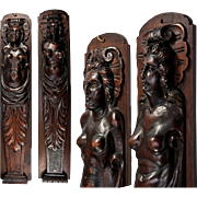 "SALE Fine Antique French Carved Wood Caryatid Figures, 23.5"" Tall - Cabinet Fragment,  .."