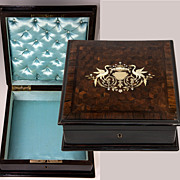 SOLD Antique French Cabinet Maker Desk Top or Jewelry Box, Casket, Marquetry with Birds, Boull