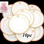 SALE Antique 1911 MINTON 10pc Dinner Plate Set, Ornate Gold Borders & Raised Gold Monograms