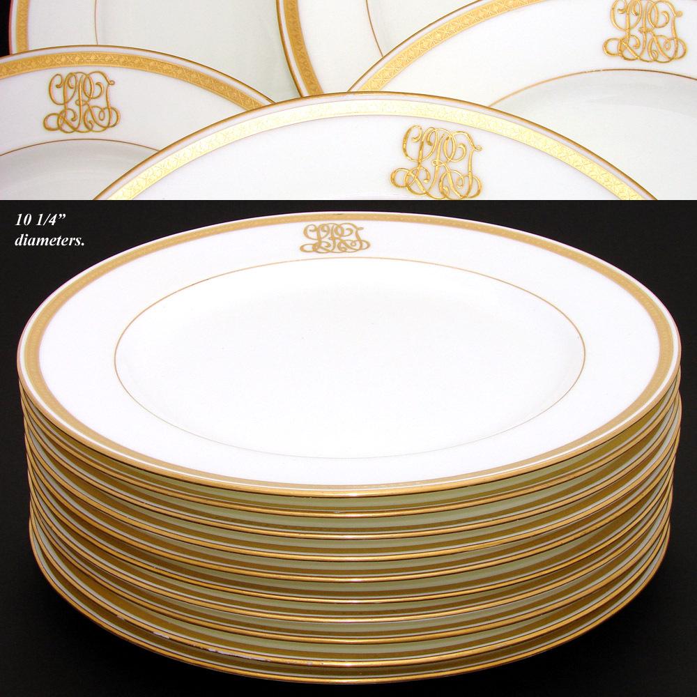 Antique 1911 MINTON 10pc Dinner Plate Set Raised Gold Enamel u0026 Ornate Monograms & Antique 1911 MINTON 10pc Dinner Plate Set Raised Gold Enamel ...