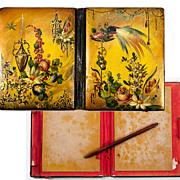 SALE Antique Victorian Era Papier Mache Carnet du Bal, Necessaire or Card Case, Aide d ...