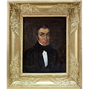 SOLD Antique Portrait, Painting in Oil on Canvas, French Empire Wood & Gesso Frame, c.1810