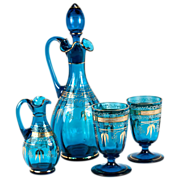 SALE Antique French Wine or Absinthe Serving Set, c.1870, 4 Pieces w. Decanter