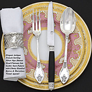 """SALE Ornate Antique French Sterling Silver 36pc Dinner Sized Flatware Set, Gothic or """"Hen"""