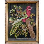 SALE Antique Victorian Needlepoint Sampler, Tapestry, A Parrot, c.1872, Signed & in Frame
