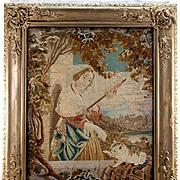 SALE Antique Victorian Needlework Tapestry in Fine Frame, Needlepoint Cat & Tassel Maker - WOW