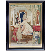 SALE Superb French Victorian Era Needlepoint Tapestry in Frame, 2 Girls, Interior