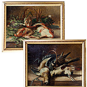 SOLD Antique Oil Painting Pair (2) Signed by Artist, Fruits of the Hunt Theme - La Cuisine