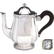 """SALE Antique French Sterling Silver 9"""" Coffee or Tea Pot, Teapot, Seashell Accent"""