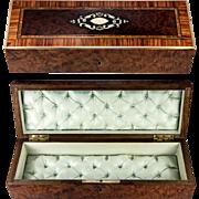 SALE Fine Antique French Burled Wood Glove or Document, Desk Box, Casket, Napoleon III Era ...