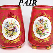 SALE Antique Moser or Harrach Bohemian Layered Glass Mantel Vase PAIR, Cranberry Glass with Go