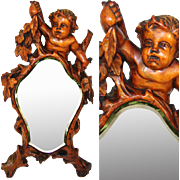 "SALE Antique c. mid 1800s Italian Renaissance Style Carved 17.5"" Vanity Mirror, Cherub or"