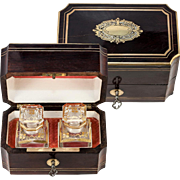SALE Antique French Napoleon III Era (Victorian) Scent Box, Casket with Baccarat Perfume Flask