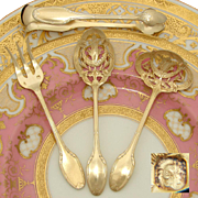 SALE Antique French Hallmarked 18k Gold (Vermiel) Sterling Silver 4pc Hors d'Oeuvres Serving .