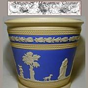 SOLD Rare LG 1900s Copeland Jasperware Jardiniere, Figural Relief