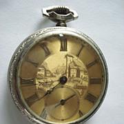 SALE Vintage Guilloche Benedict Bros Pocket Watch
