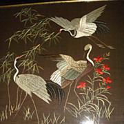SALE Large Hand Sewn  Crewel Work Of Herons