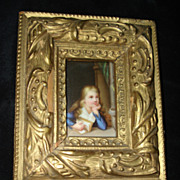 SALE Miniature Porcelain Painting Young Girl