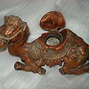SALE Vintage Camel Cast Spelter Inkwell
