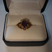 SALE Vintage Amethyst and Diamond Ring