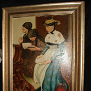 SALE Three Women In Church Painting