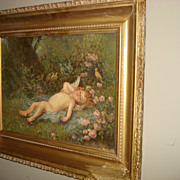 SALE Painting of Cupid and Birds Signed Griffith