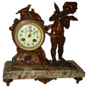 REDUCED French Bronze Cupid Clock signed Moreau