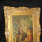 SALE Duverger French Painting on Tin Courtship Scene c19th